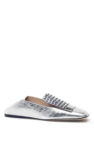 Medium sergio rossi silver silver crinkled leather jeweled flats