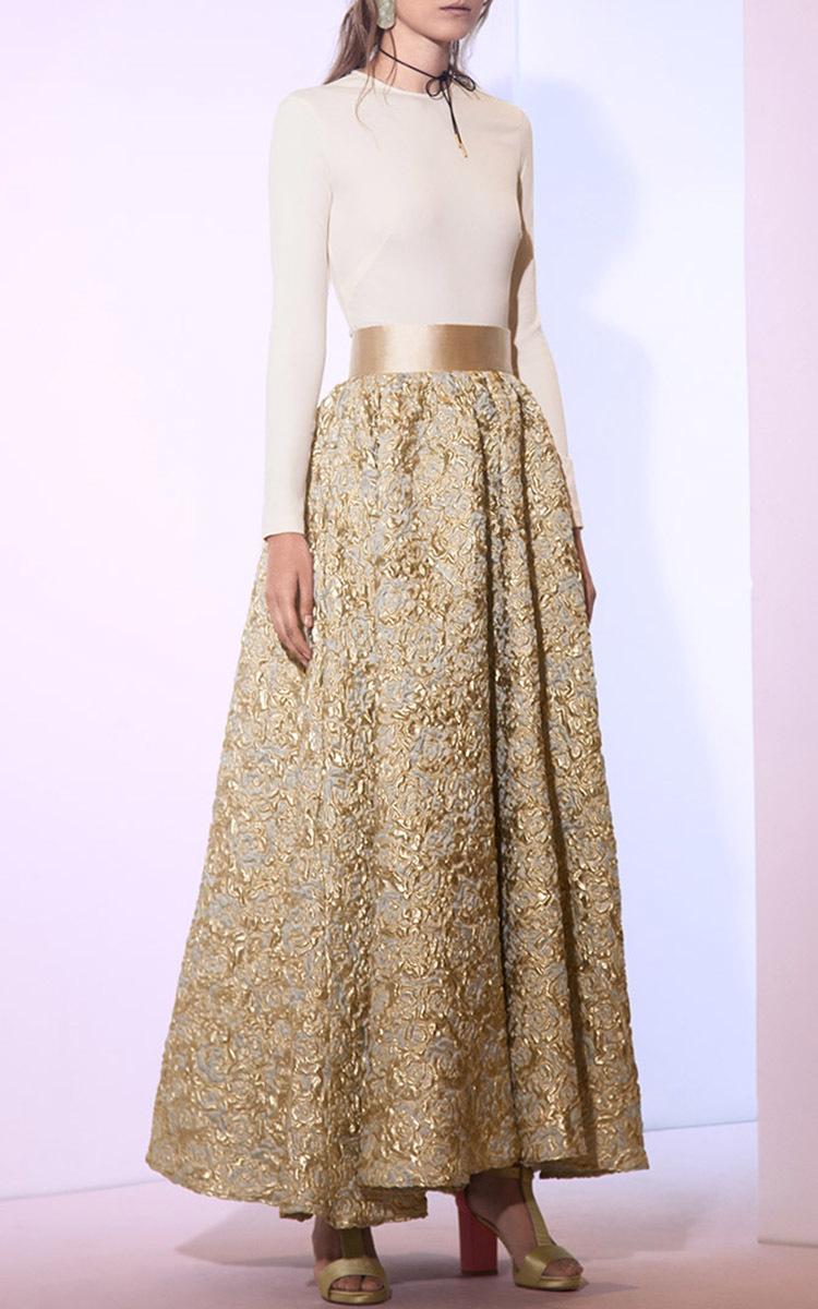 dfaa4371b La Mer Calme et Lisse Brocade Midi Skirt by Sandra Mansour | Moda ...