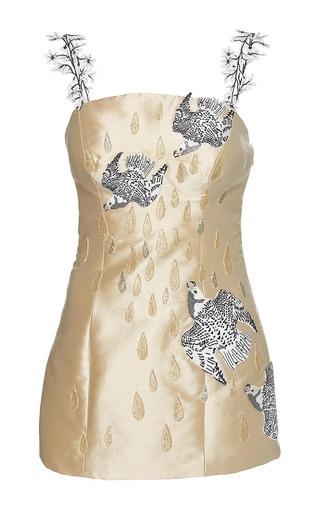 Medium sandra mansour gold la lune qui te berce double face mikado embroidered mini dress