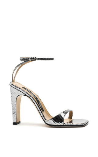 Medium sergio rossi silver silver treated laminated python sandals