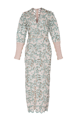 Medium sandra mansour multi fleurs embroidered crochet midi dress