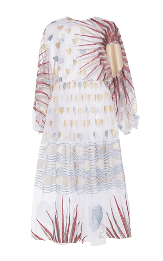 Medium sandra mansour white mer bouillante lace embroidered dress