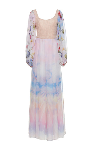 Medium sandra mansour multi sable dans les yeux printed mousseline long dress