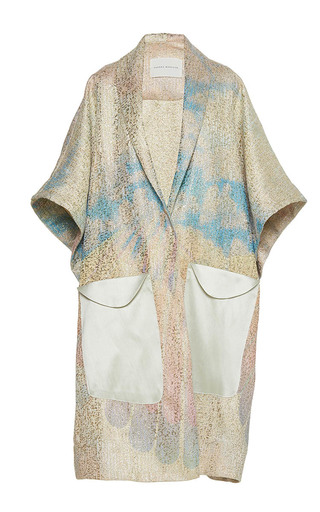 Medium sandra mansour white vague qui me berce printed brocade long jacket