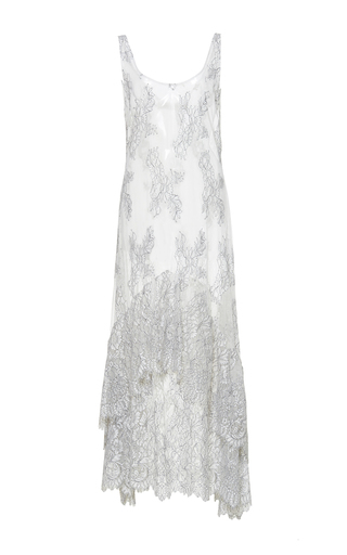 Medium sandra mansour white maree basse lace midi dress