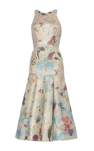 Medium sandra mansour floral soleil du printemps printed brocade midi dress