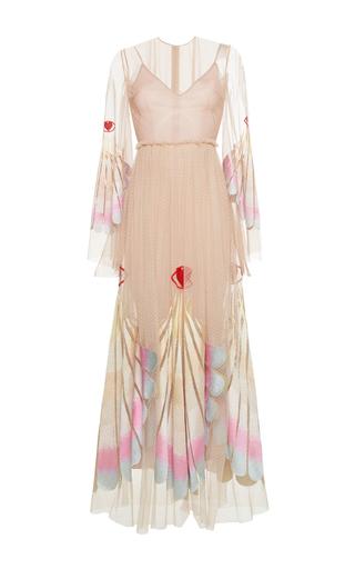 Medium sandra mansour pink reine silk lace midi dress