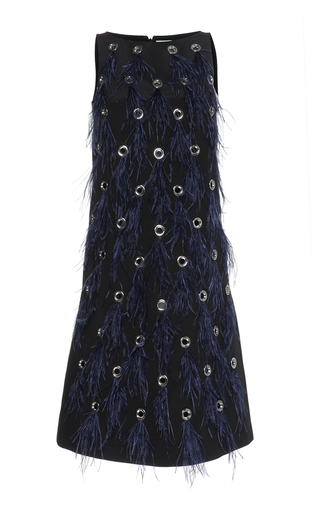 Medium huishan zhang navy feather dalia dress