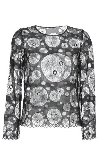 Medium huishan zhang black lace callie long sleeve top