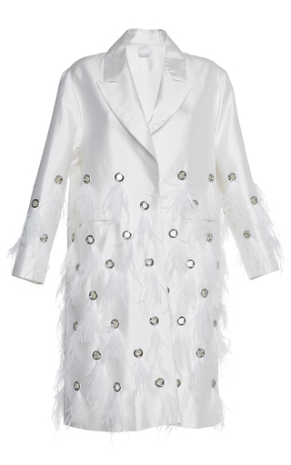 Medium huishan zhang white feather dalia coat