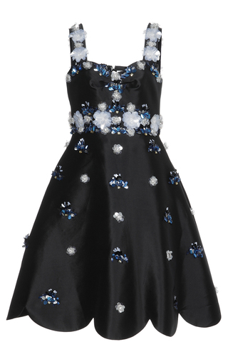 Medium huishan zhang black beaded daisy dress