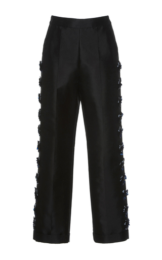 Medium huishan zhang black beaded daisy trousers