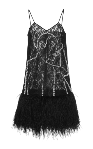 Medium huishan zhang black lace and beaded pan dress