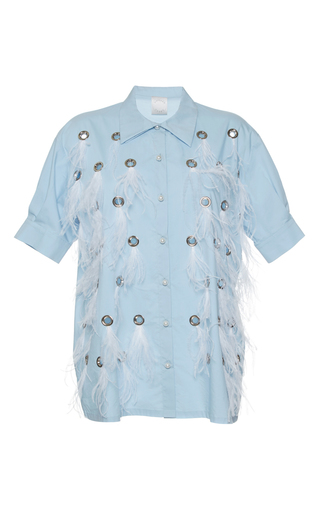 Medium huishan zhang blue feather dalia shirt