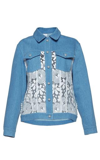 Medium huishan zhang multi lace and denim beaded pan jacket
