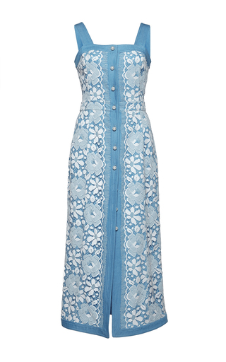Medium huishan zhang blue denim and lace giselle dress