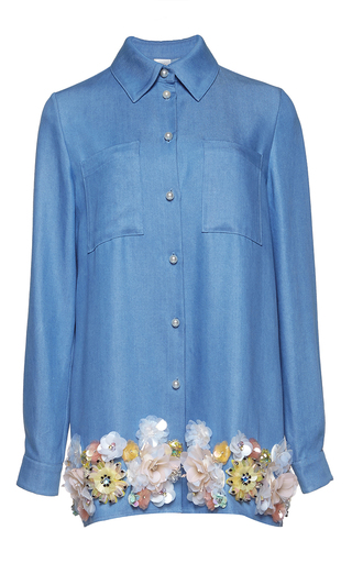 Medium huishan zhang blue denim and beaded daisy shirt