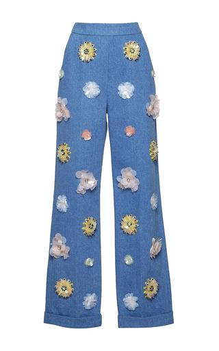 Medium huishan zhang blue denim and beaded daisy trousers
