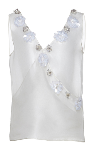 Medium huishan zhang white organza beaded daisy top