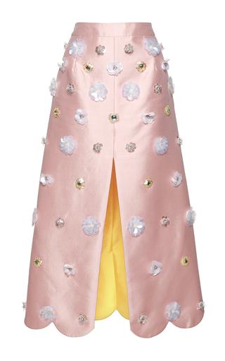 Medium huishan zhang pink beaded daisy skirt