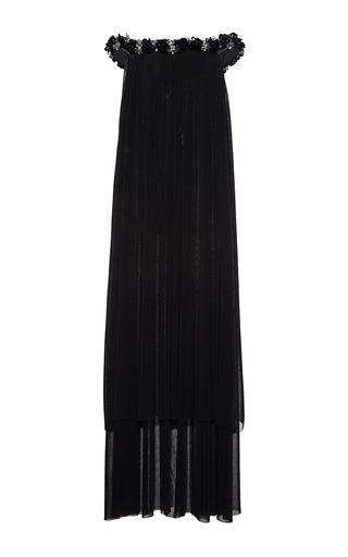 Medium huishan zhang black pleated lace and beaded fairuza dress