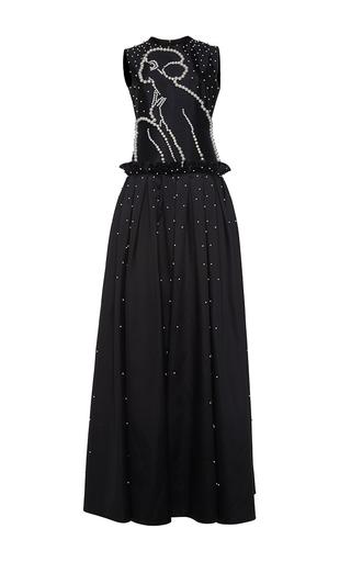 Medium huishan zhang black pearl beaded pan gown