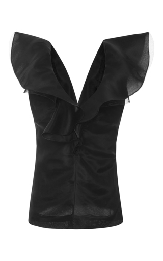 Medium emanuel ungaro black sleeveless ruffle top