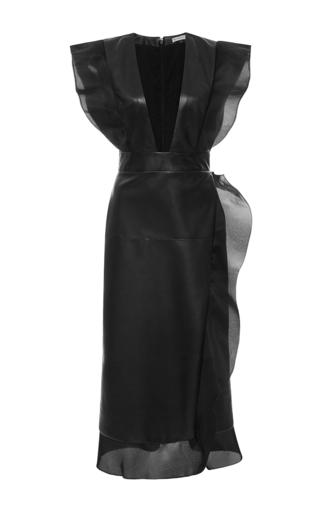 Medium emanuel ungaro black ruffle leather midi dress