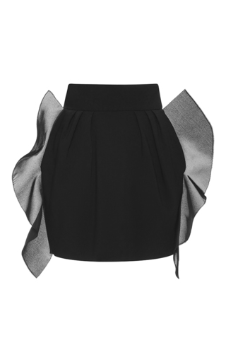 Medium emanuel ungaro black ruffle high rise mini skirt