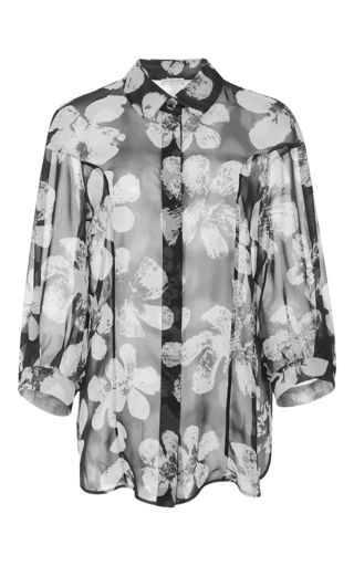 Medium emanuel ungaro print printed drop shoulder silk shirt