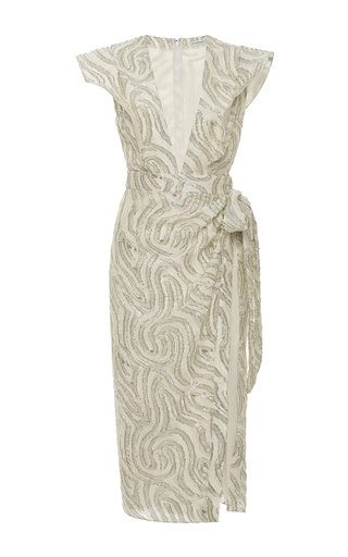 Medium emanuel ungaro silver v neck wrap midi dress