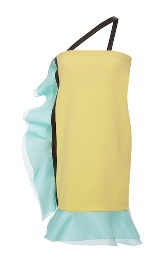 Medium emanuel ungaro yellow one shoulder ruffle dress 2