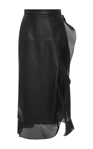 Medium emanuel ungaro black high rise leather wrap midi skirt