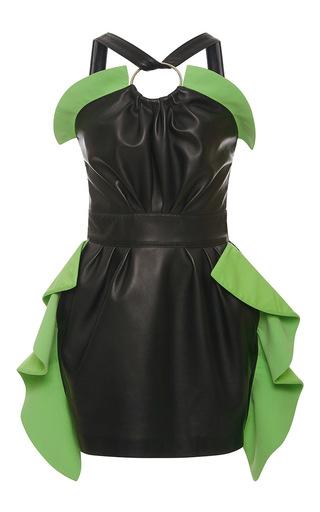 Medium emanuel ungaro black halter ruffle leather mini dress