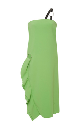 Medium emanuel ungaro green one shoulder ruffle dress 3