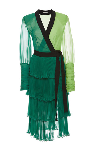 Medium emanuel ungaro green color block pleated long sleeve wrap dress