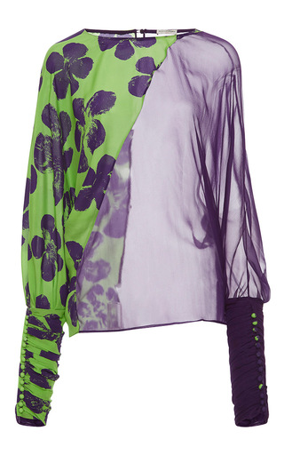 Medium emanuel ungaro print double fabric long sleeve blouse 2