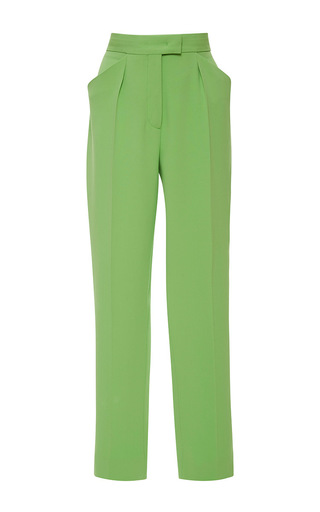 Medium emanuel ungaro green high rise pleated crop trouser