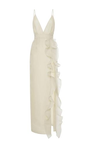 Medium emanuel ungaro pink v neck ruffle maxi dress