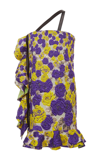 Medium emanuel ungaro multi embroidered one shoulder ruffle dress
