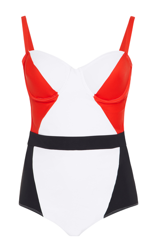 Medium flagpole x oscar de la renta multi color block one piece swimsuit