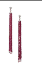 Medium fabio salini red earrings with floral top in white gold and diamonds rubies beeds