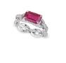 Medium fabio salini red ring catena with pave set diamonds chain and ruby
