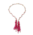 Medium fabio salini red necklace bacco in pink and white gold diamonds and pink sapphires pave set pink sapphires beads