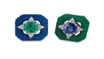 Medium fabio salini green earrings in galuchat sapphires and emerald