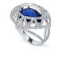 Medium fabio salini blue ring cage with white gold blue sapphire and diamonds