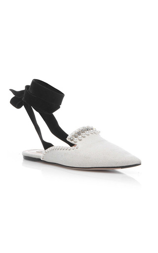 Medium attico white elena canvas flats