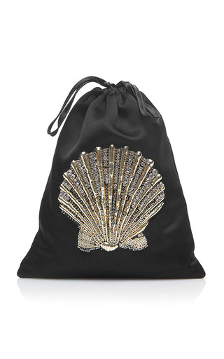 Medium attico black sofia seashell pouch