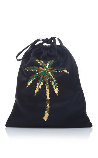 Medium attico black sofia palm tree pouch