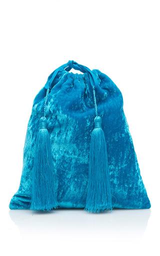 Medium attico turquoise sofia velvet pouch with tassels